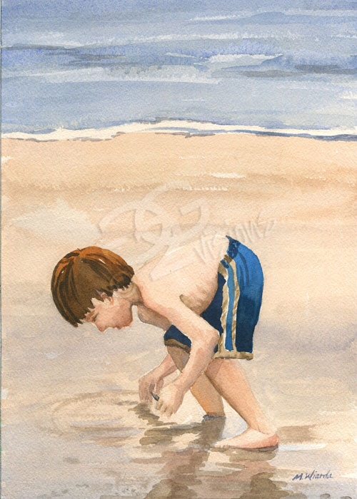 shelling on the cape watercolor painting.