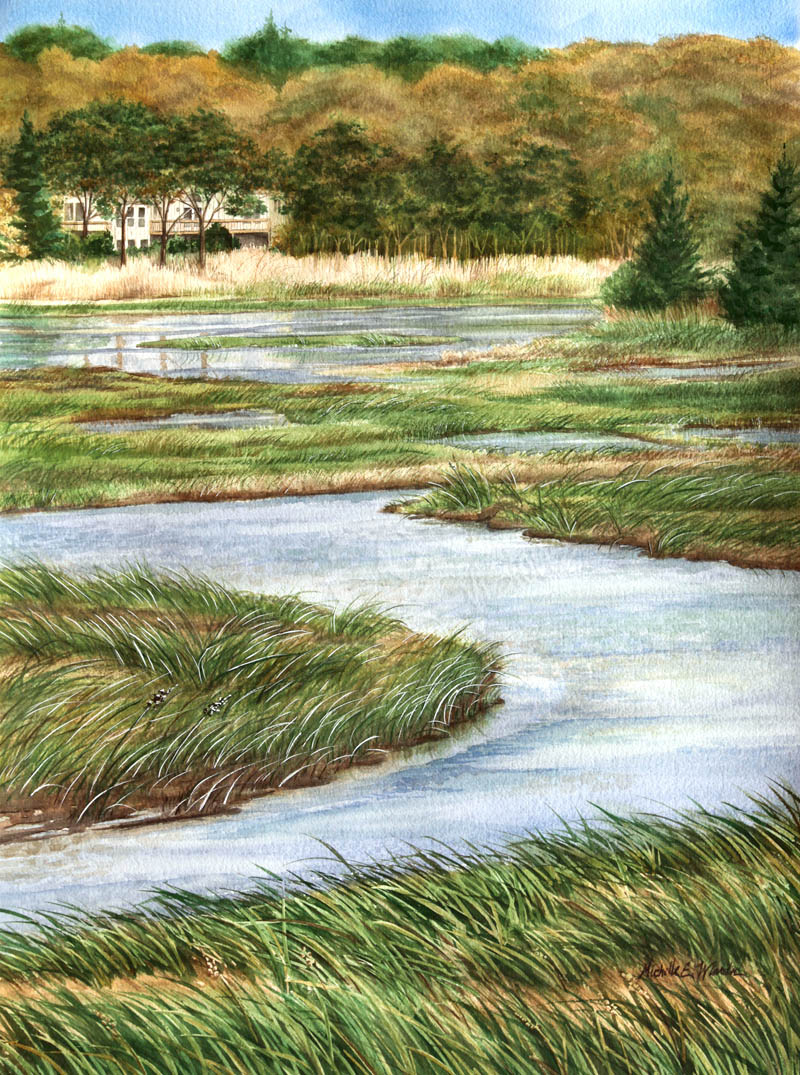 g2g visions cape cod salt marsh watercolor painting image.